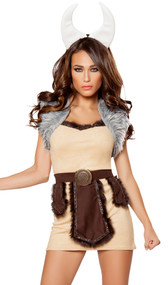 Vicious Viking costume includes faux suede dress with faux fur trim, faux fur cropped vest, belt with panels, and horn headband. Four piece set.
