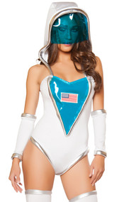 Space Commander costume includes romper with metallic trim, American flag patch and detachable hood. One piece set.