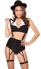 Aly Capone costume includes pinstripe sleeveless crop top with collar, high waist shorts with attached garters, and suspenders. Three piece set.