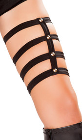 Thigh leg strap garter featuring spiked studs. Pull on style.