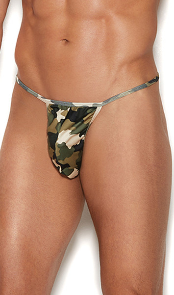 Camouflage G-string pouch with T back.