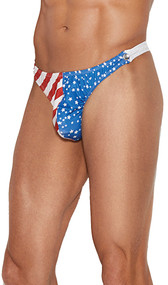 Men's side snap closure thong with Stars and Stripes detail on the front side.