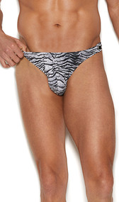 Men's side snap closure thong with Zebra design.