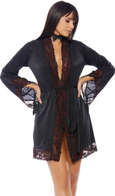 Satin robe with black lace and red satin trim, sash front closure.