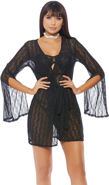 Sheer robe is detailed with glitter woven in the wavy pattern, open back, and long, elegant sleeves with elbow slit feature.