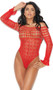 Long sleeve off the shoulder crochet teddy with heart pattern, see through bust, thong back and ruffled sleeves. Matching anklets included. Two piece set.