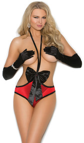Stretch satin teddy with oversized bow detail, open bust and back ruching.