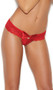 Lace thong with keyhole and satin bow front.