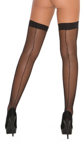 Fishnet thigh high stockings with back seam.