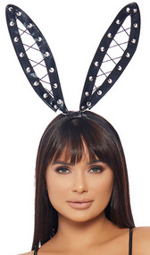 Metallic bunny ear headband with oversized wet look ears featuring grommets and lace up detail. Covered black headband.