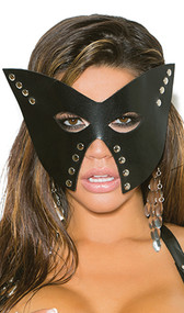 Black leather mask with nail head details. Adjustable leather strap with buckle closure in the back.