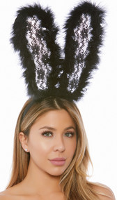 Bunny ear headband with oversized lace ears trimmed in soft marabou. Covered headband.