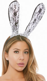 Bunny ear headband with oversized black lace ears with ruffled white lace on the front side. Covered black headband.