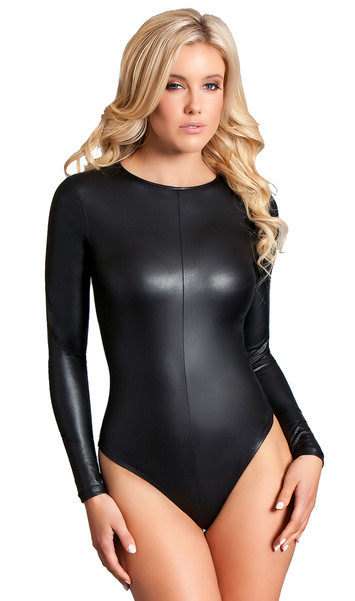 Long sleeve faux leather bodysuit with zipper back, seam detailed front, and thong cut.