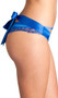 Strappy satin panty featuring cut outs, eyelash lace detail, and satin ribbon that ties nicely in a bow in back.