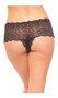 Crotchless lace panty with scalloped trim and front ribbon lace up corset style detailing.