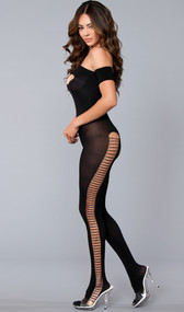 Off the shoulder crotchless bodystocking with peek a boo front cut out and faux lace up cut out details on the legs.