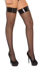 Fishnet thigh high with vinyl top. The inside of cuff is not vinyl, it is soft.