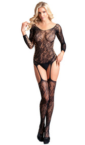 Long sleeve lace suspender bodystocking with scoop neck, and faux lace up detail on back, sides and inner sleeves.