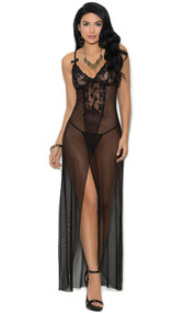 Long mesh and lace gown features front slit, deep V neckline, satin bows and adjustable straps. Matching mesh g-string included. Two piece set.