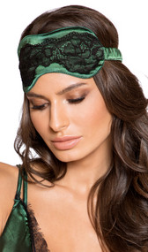 Pull on satin sleep mask with contrast lace detail and covered elastic strap. Underside is plain satin, unpadded.