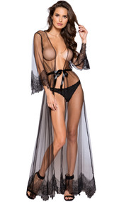 Sheer full length robe with eyelash lace trim and satin sash.