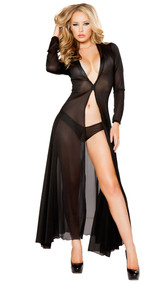 Long sheer mesh robe with front hook closure and matching mesh booty shorts. Two piece set.