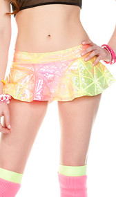 Neon mini skirt with metallic hologram style finish and laser beam pattern.