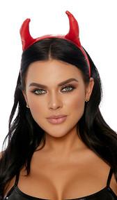 Wet look devil horns on covered plastic headband. Ears are padded.