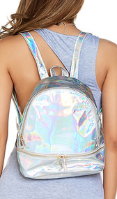 Iridescent mini backpack with adjustable straps and hanging loop. Main compartment has zipper closure, and has two pouches along the back for organziation, along with another zippered pouch for coins, etc. Also features a separate bottom compartment with zipper closure.