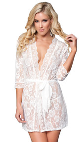 Short lace robe with scalloped trim, three quarter sleeves and sash. Matching G-string included. Two piece set.