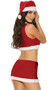 Sleigh Belle Santa costume includes velvet crop top with tie front and pom pom detail, mini skirt with attached belt, and hat. Three piece set.