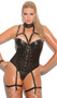 Leather and fishnet underwire teddy with attached collar, thong back and studded detail. Adjustable straps and adjustable and detachable garters.