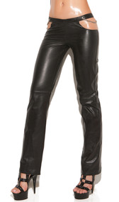 Leather pants with side cut outs, chain detail and back zipper closure.