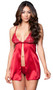 Satin flyaway babydoll with floral lace cups with scalloped trim, adjustable straps, and front hook closure. Matching G-string included. Two piece set.