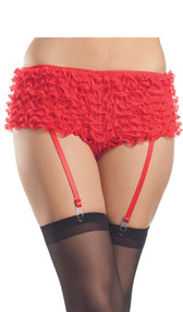 Lace ruffled booty shorts with satin bow detail and attached garter straps. Straps are adjustable.