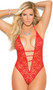 Lace halter neck teddy with plunging deep V front, heart rhinestone accents, double strap g-string back, and open tie back. Accessories not included.