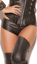 Low rise mini leather shorts with back zipper closure, solid front, and cheeky cut back.