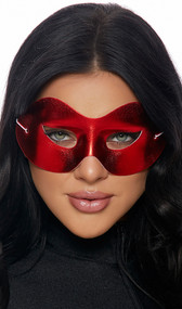 Metallic red mask with elastic back. Back side of the mask is white. Mask is stiff and preshaped, not flexible.