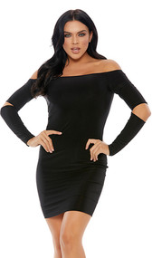 Long sleeve off the shoulder mini dress with elbow slits.