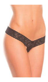 Crotchless lace thong with scalloped trim and mini satin bow detail.
