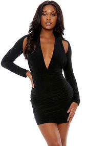 Long sleeve mini dress with plunging deep v neckline, suspended sleeves, and open back.
