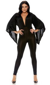 Angel sleeve jumpsuit with ultra low plunging neckline and backside zipper detail.