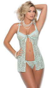 Floral lace flyaway babydoll features underwire cups with gathered mesh and lace up detail, satin ribbons, adjustable straps, and keyhole hook and eye back closure. Includes matching g-string. Two piece set. Accessories not included.