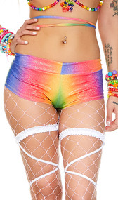 Low rise rainbow boy shorts feature a shimmer finish with iridescent dots and cheeky cut back. Pull on style. Pattern depends on the way the light is hitting it.