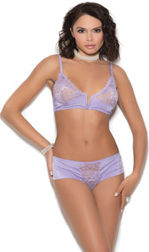 Satin bralette with floral lace cups, scalloped edges, notched V front boning, adjustable straps, and hook and eye back closure. Matching panty included. Two piece set.