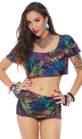 Tropical palm leaf print mini skirt with built in shorts and cheeky cut back.