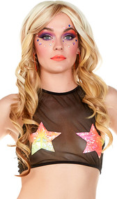 Mesh halter crop top with neon star patches.