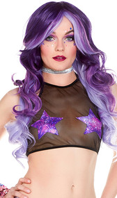 Mesh halter crop top with hologram style galaxy star patches.