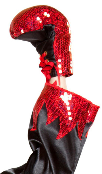 Red sequin boxing gloves with plain black back side and red ribbon lace up detail. Two gloves per package. Slightly padded.